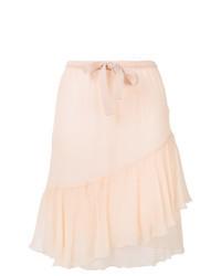 Розовая шелковая юбка-миди