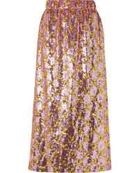 Розовая юбка-миди с пайетками