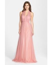 Розовое вечернее платье из фатина
