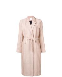 Розовое пальто в вертикальную полоску