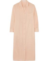 Розовое платье-рубашка