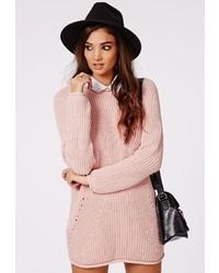 Розовое платье-свитер