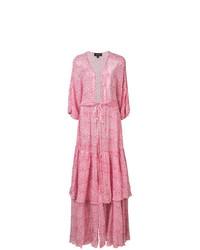 Розовое пляжное платье с цветочным принтом от Saloni