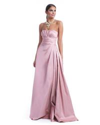 Розовое сатиновое вечернее платье