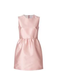 Розовое сатиновое платье с пышной юбкой