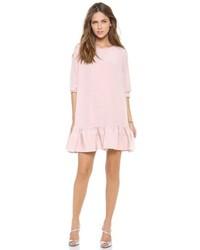 Розовое свободное платье