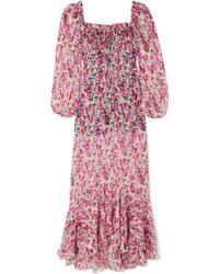 Розовое шелковое платье-макси с цветочным принтом