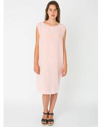 Женское розовое шелковое платье прямого кроя от American Apparel