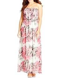 Розовое шифоновое платье-макси