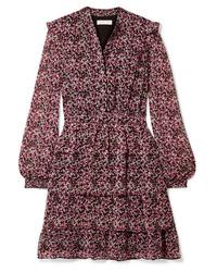 Розовое шифоновое платье прямого кроя с цветочным принтом