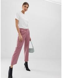 Розовые брюки-галифе в вертикальную полоску