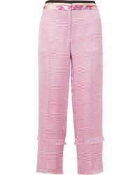 Розовые брюки-галифе в клетку