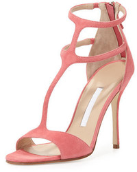 Розовые замшевые босоножки на каблуке