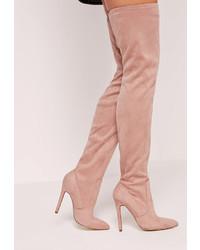 Розовые замшевые ботфорты