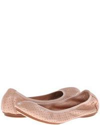 Розовые кожаные балетки