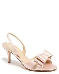 Розовые кожаные босоножки на каблуке