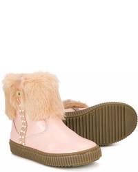 Детские розовые кожаные ботинки для девочке