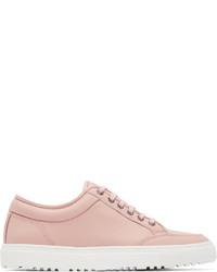 Розовые кожаные низкие кеды