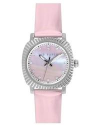 Розовые кожаные часы