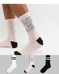 Мужские розовые носки с принтом от New Look