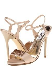 Розовые сатиновые босоножки на каблуке