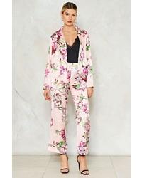 Розовые сатиновые классические брюки с цветочным принтом