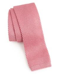Розовый вязаный галстук