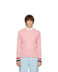 Мужской розовый вязаный свитер от Thom Browne