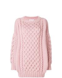 Розовый вязаный свободный свитер