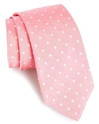 Розовый галстук в горошек