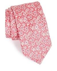 Розовый галстук с цветочным принтом