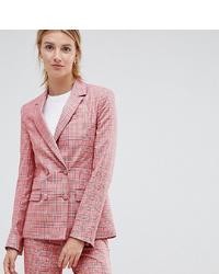 Женский розовый двубортный пиджак в клетку от Asos Tall