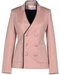 Розовый двубортный пиджак