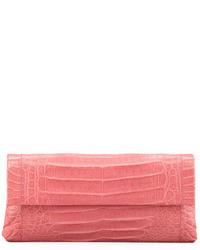 Розовый кожаный клатч
