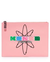 Женский розовый кожаный клатч от Kenzo