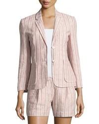 Розовый пиджак в вертикальную полоску
