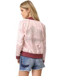 Розовый сатиновый бомбер
