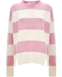 Розовый свитер с круглым вырезом в горизонтальную полоску