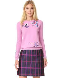 Розовый свитер с круглым вырезом с вышивкой
