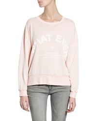 Розовый свитер с круглым вырезом с принтом