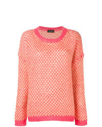 Розовый свитер с круглым вырезом с ромбами