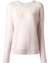 Розовый свитер с круглым вырезом