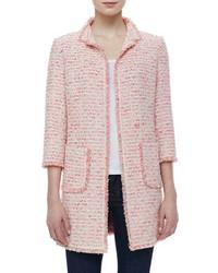 Розовый твидовый жакет