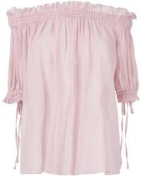 Розовый топ с открытыми плечами от Alexander McQueen