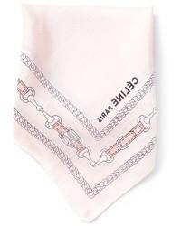 Розовый шелковый нагрудный платок с принтом от Celine
