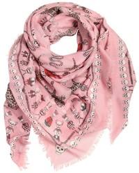 Розовый шелковый шарф с принтом