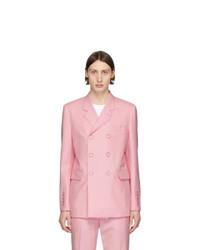 Мужской розовый шерстяной двубортный пиджак от Burberry
