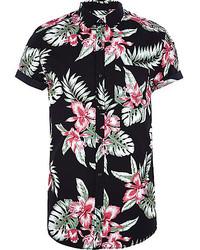 Рубашка с коротким рукавом с цветочным принтом