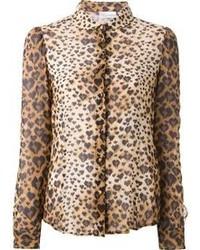 Светло-коричневая блуза на пуговицах с леопардовым принтом