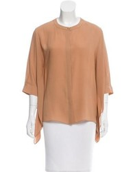 Светло-коричневая блуза с коротким рукавом